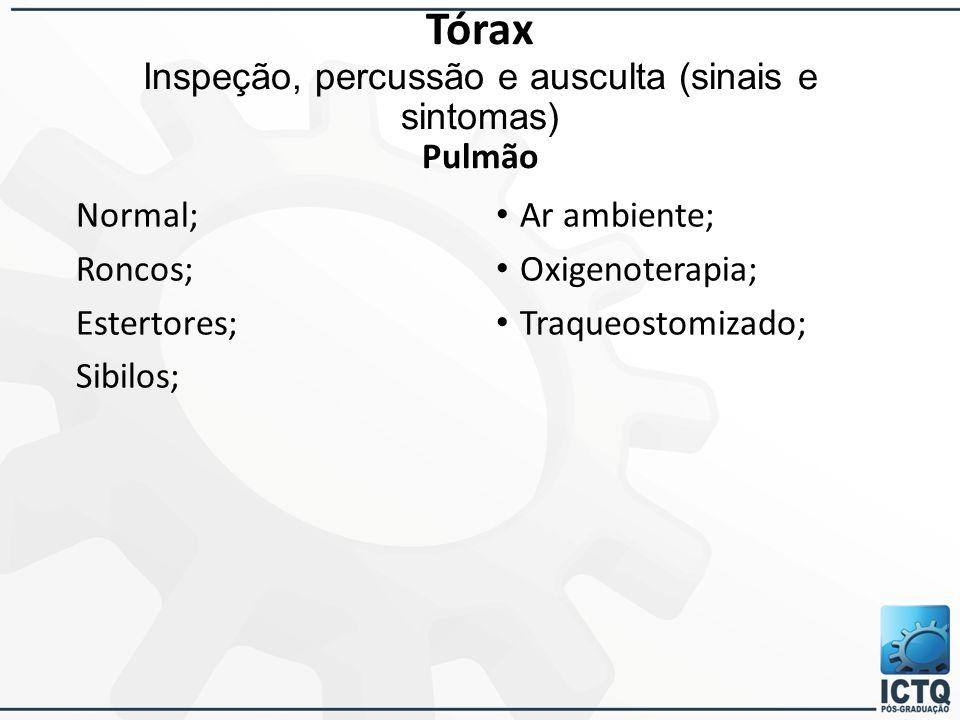 Tórax Inspeção, percussão e ausculta (sinais e sintomas) Pulmão