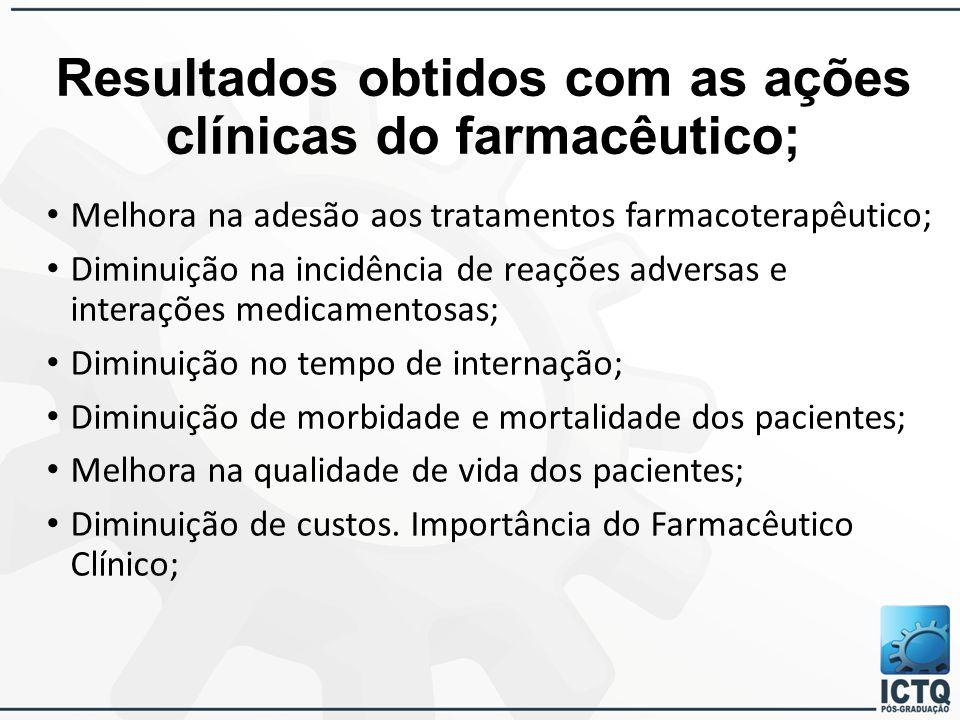 Resultados obtidos com as ações clínicas do farmacêutico;