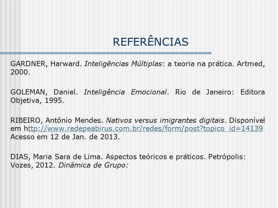 REFERÊNCIAS GARDNER, Harward. Inteligências Múltiplas: a teoria na prática. Artmed, 2000.