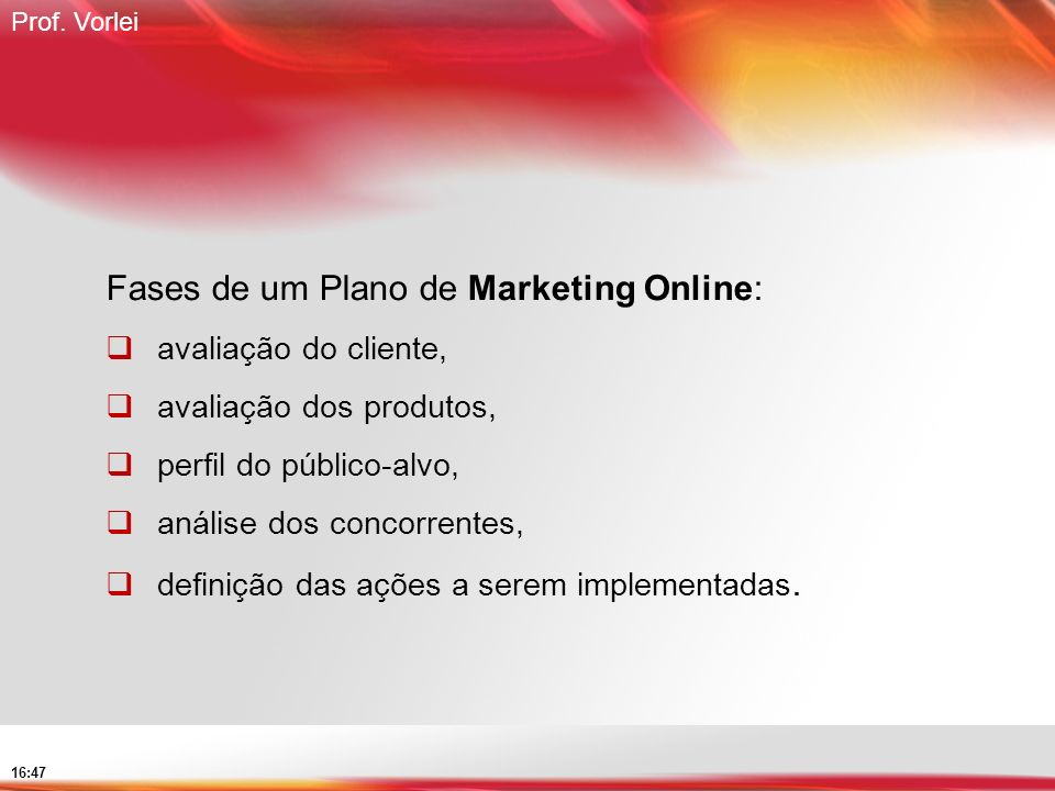 Fases de um Plano de Marketing Online: