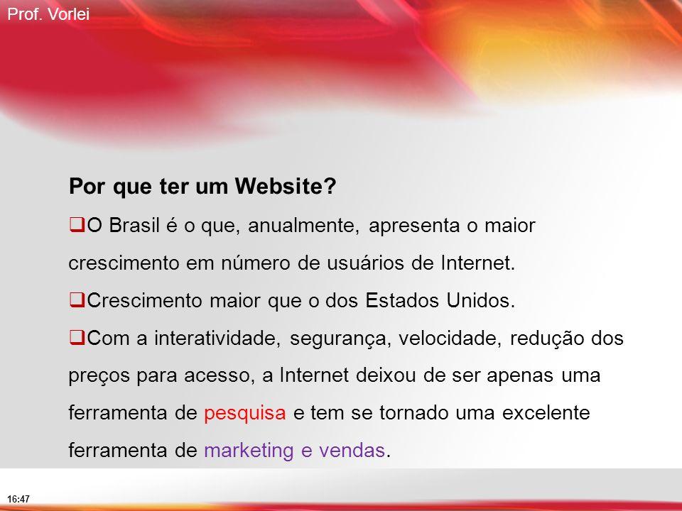 Por que ter um Website O Brasil é o que, anualmente, apresenta o maior crescimento em número de usuários de Internet.