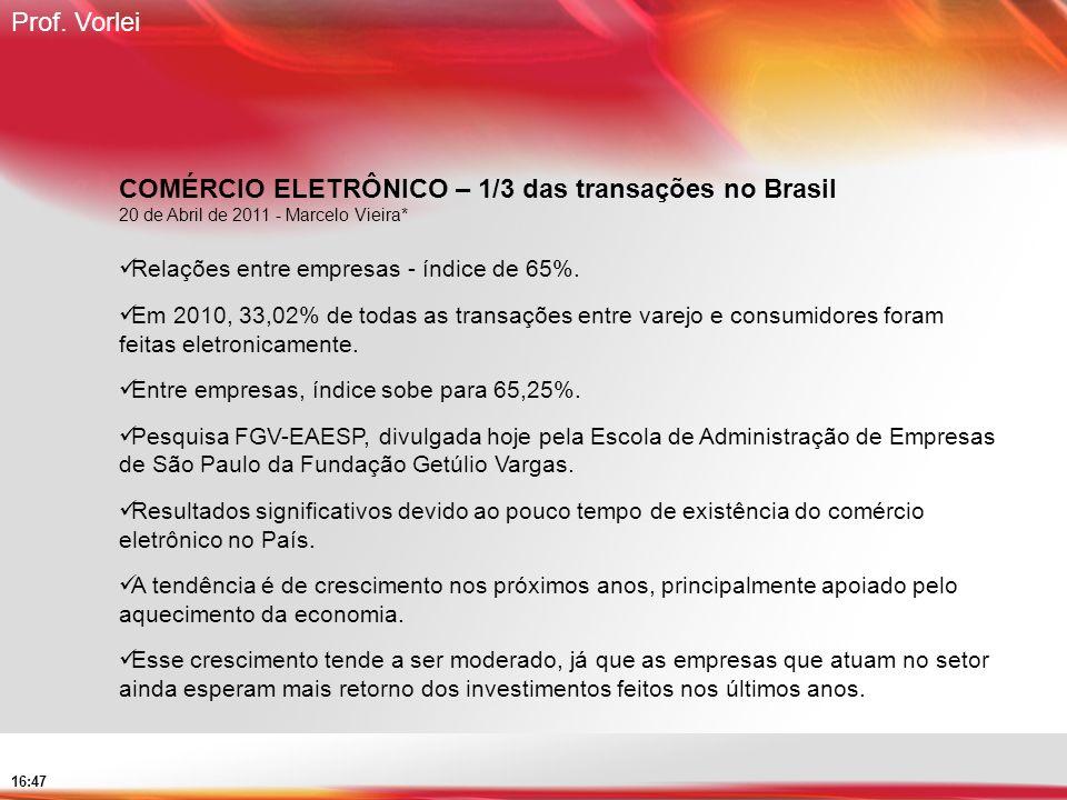 COMÉRCIO ELETRÔNICO – 1/3 das transações no Brasil