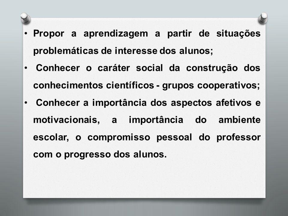 Propor a aprendizagem a partir de situações problemáticas de interesse dos alunos;