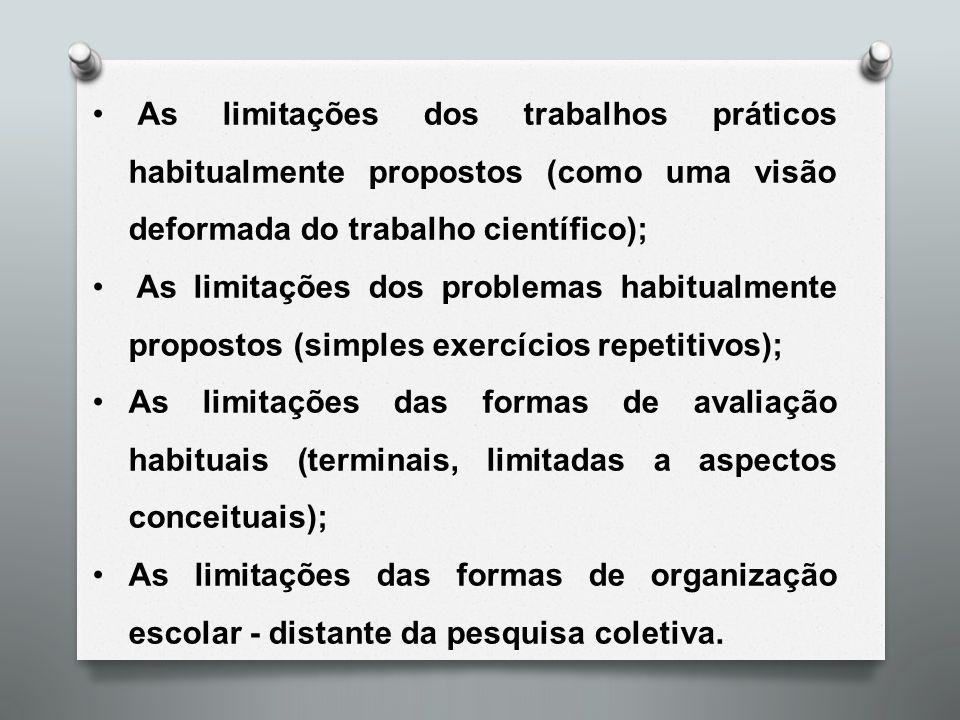 As limitações dos trabalhos práticos habitualmente propostos (como uma visão deformada do trabalho científico);