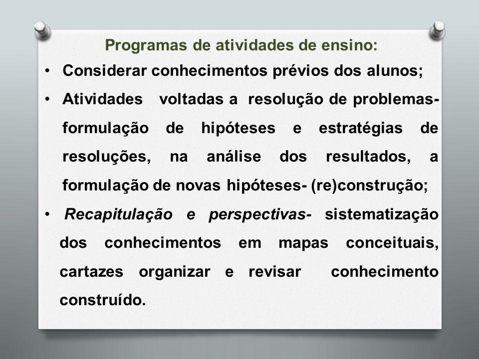 Programas de atividades de ensino: