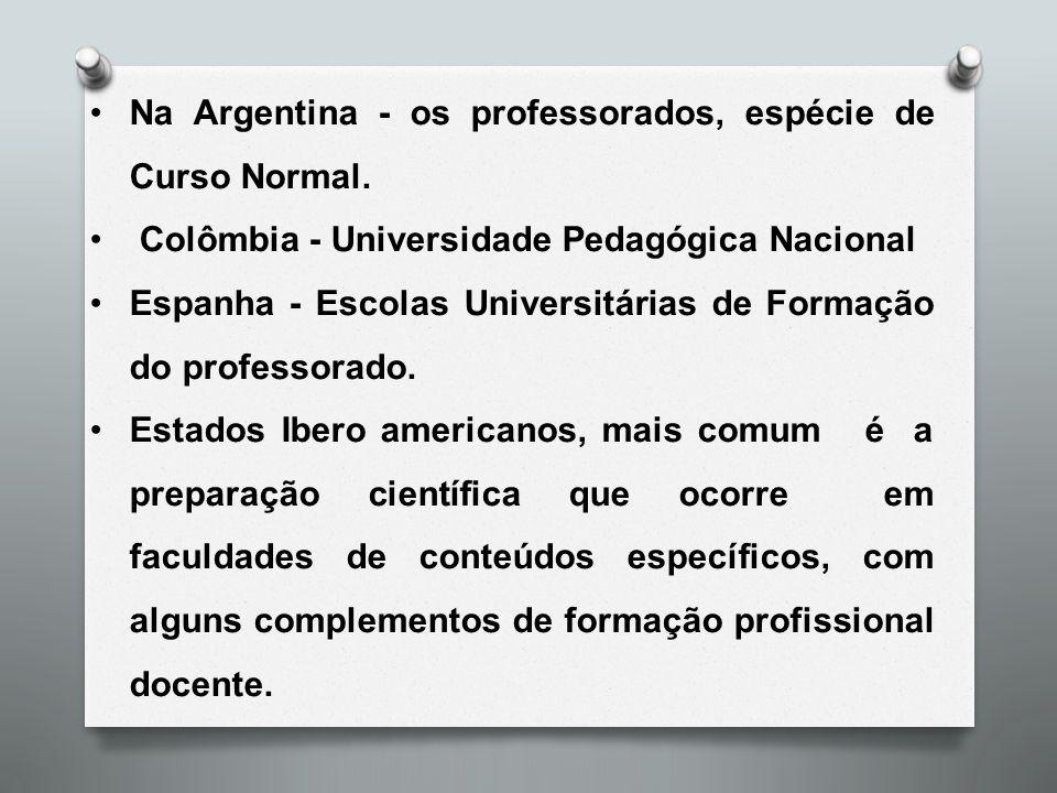 Na Argentina - os professorados, espécie de Curso Normal.