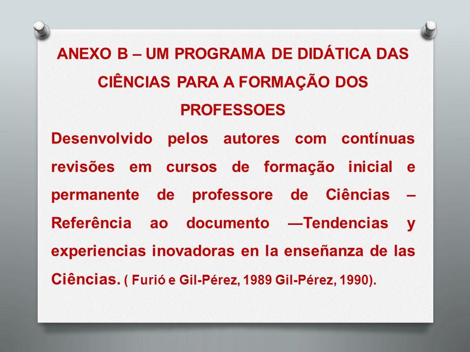 ANEXO B – UM PROGRAMA DE DIDÁTICA DAS CIÊNCIAS PARA A FORMAÇÃO DOS PROFESSOES