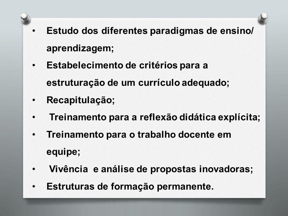 Estudo dos diferentes paradigmas de ensino/ aprendizagem;
