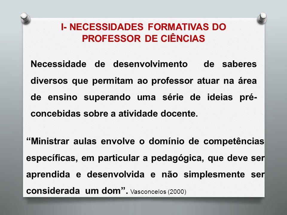 I- NECESSIDADES FORMATIVAS DO PROFESSOR DE CIÊNCIAS