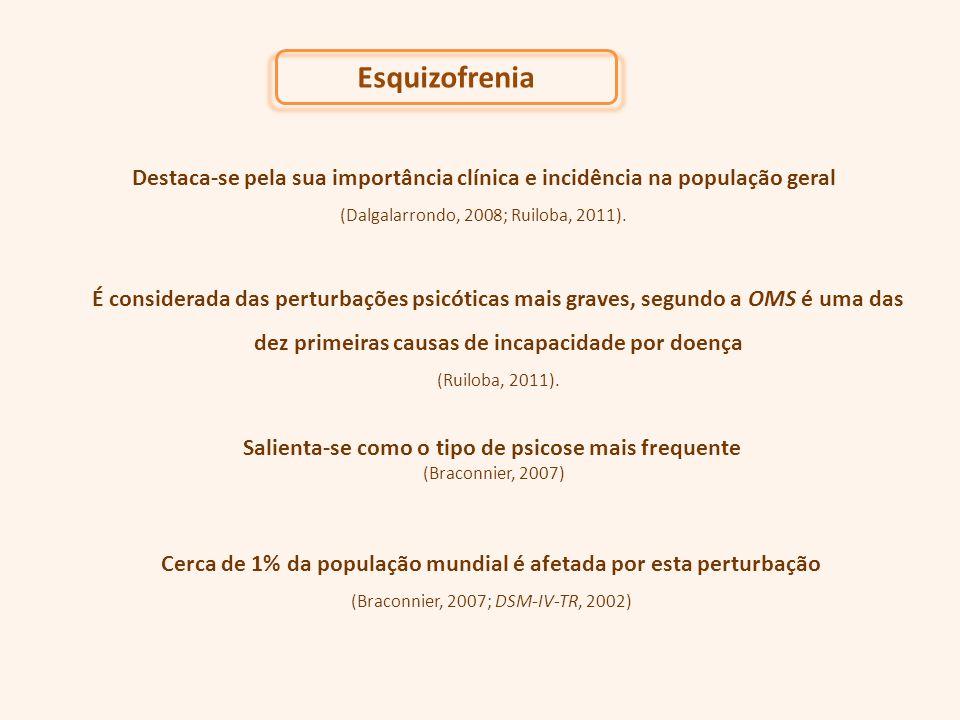 Esquizofrenia Destaca-se pela sua importância clínica e incidência na população geral. (Dalgalarrondo, 2008; Ruiloba, 2011).