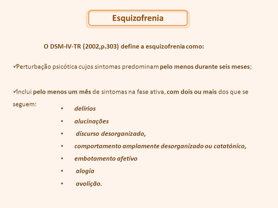 O DSM-IV-TR (2002,p.303) define a esquizofrenia como: