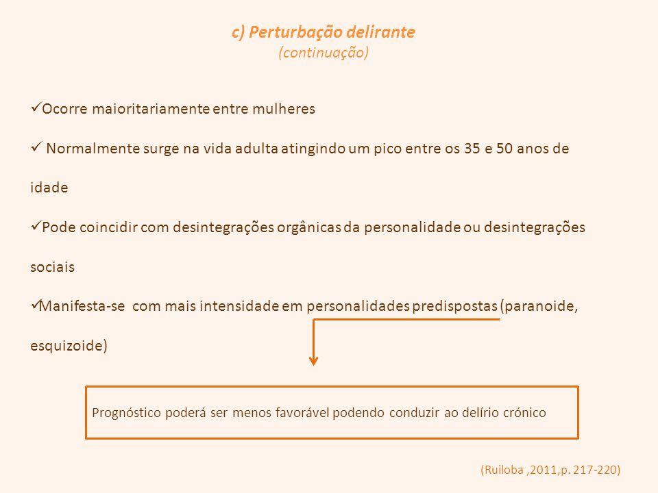 c) Perturbação delirante