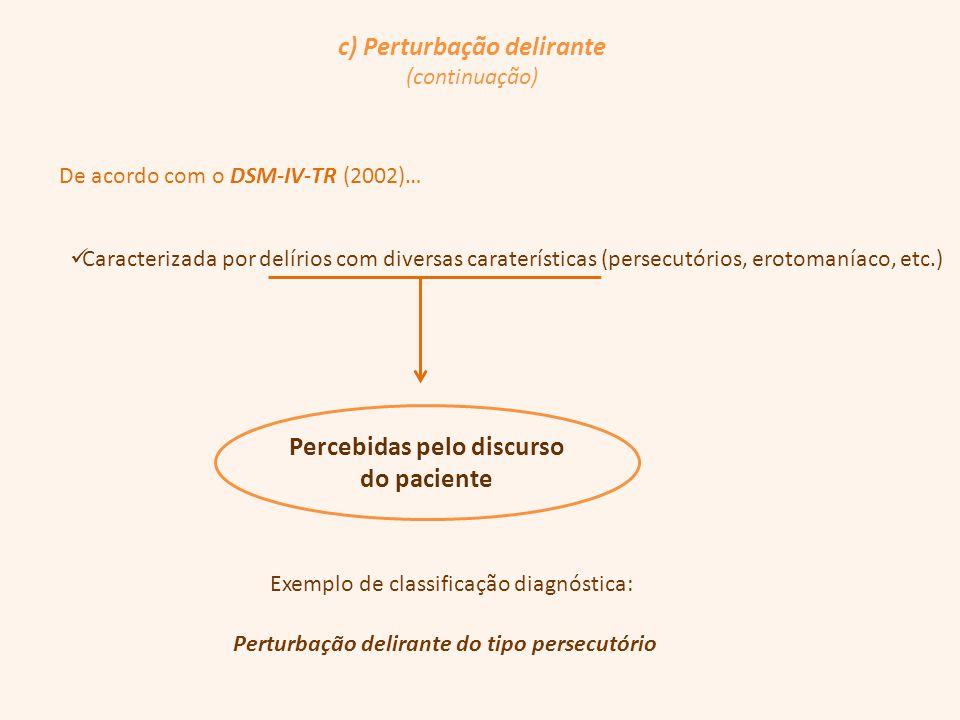 c) Perturbação delirante Percebidas pelo discurso do paciente