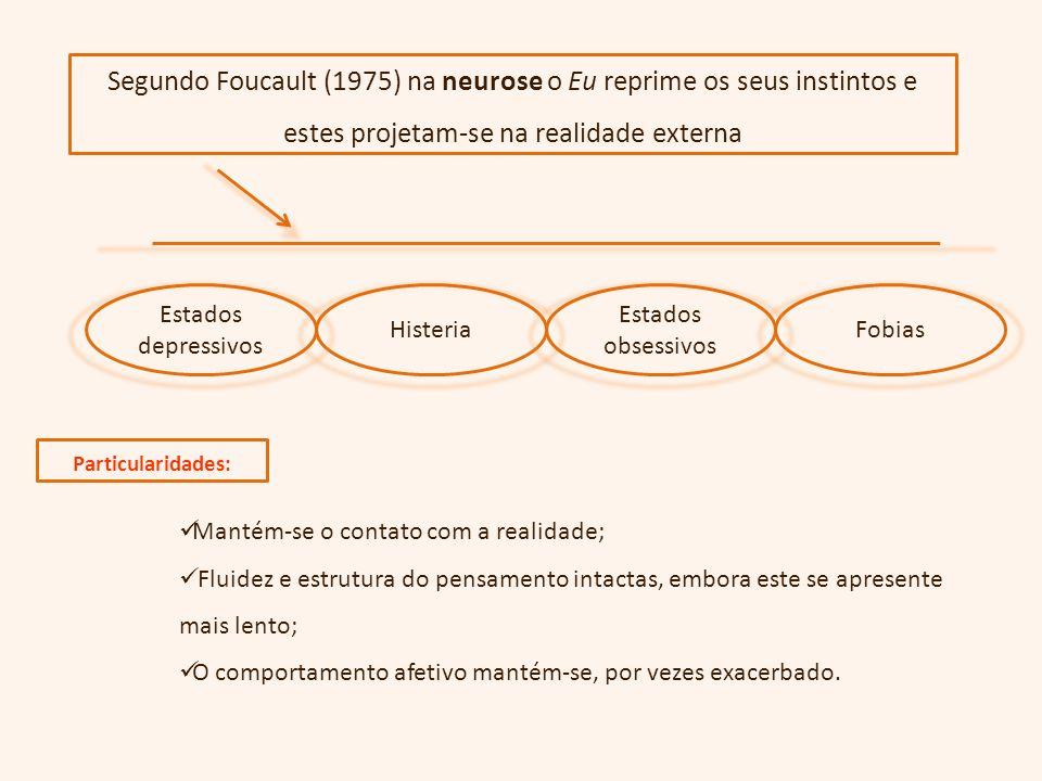 Segundo Foucault (1975) na neurose o Eu reprime os seus instintos e estes projetam-se na realidade externa
