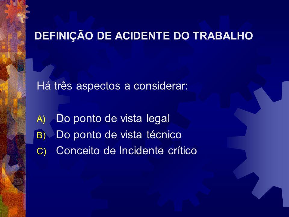 DEFINIÇÃO DE ACIDENTE DO TRABALHO