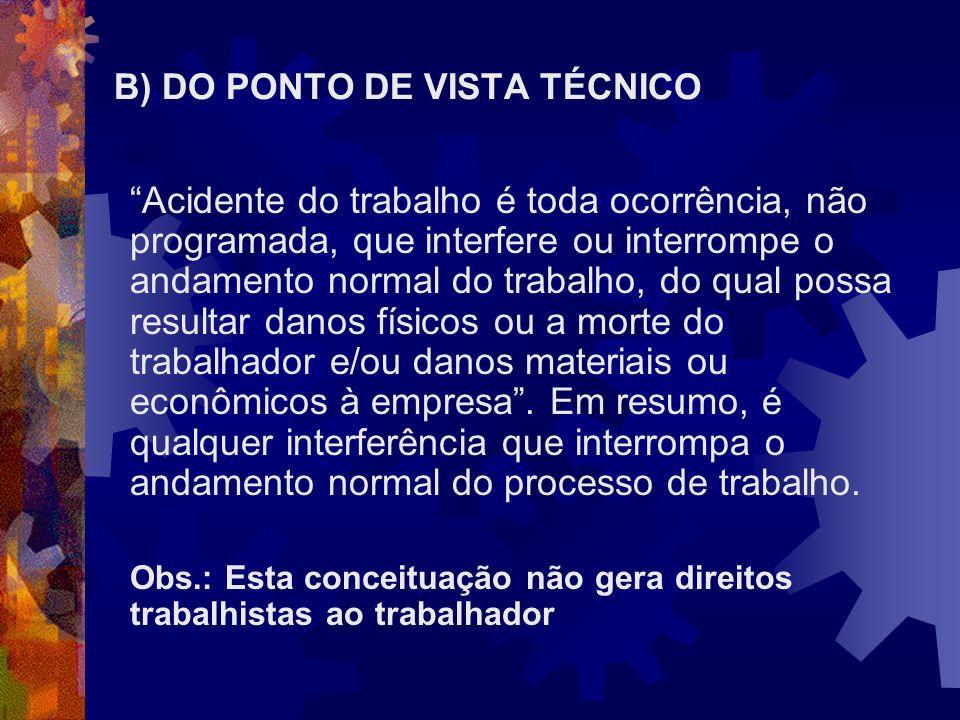 B) DO PONTO DE VISTA TÉCNICO
