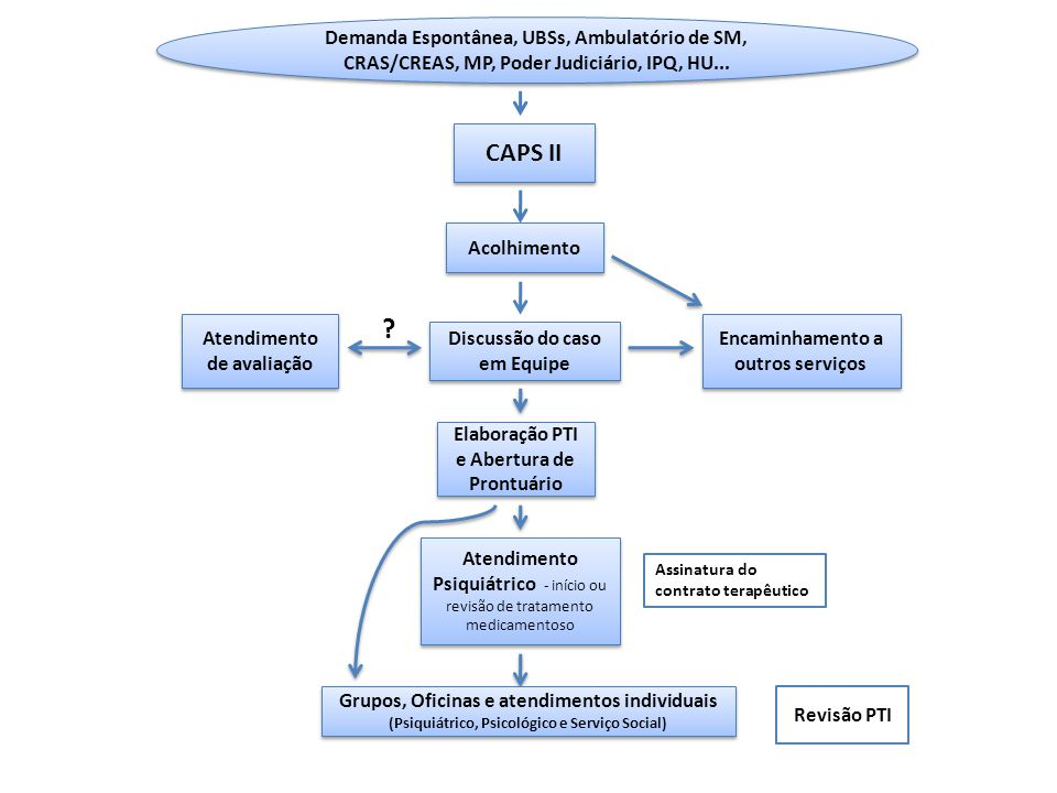 Demanda Espontânea, UBSs, Ambulatório de SM, CRAS/CREAS, MP, Poder Judiciário, IPQ, HU...