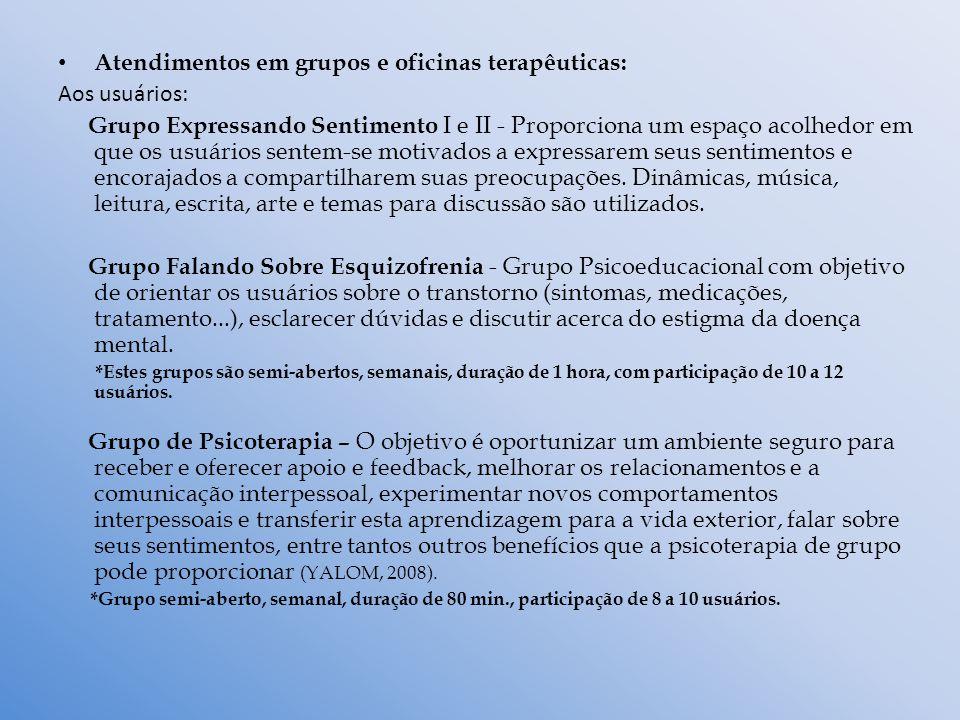 Atendimentos em grupos e oficinas terapêuticas: Aos usuários: