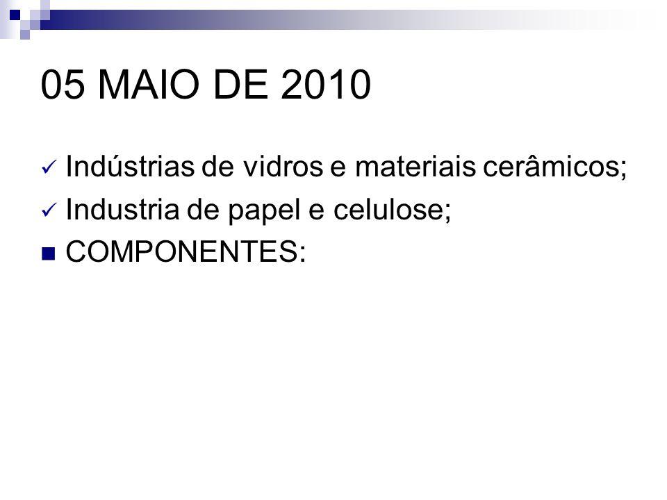 05 MAIO DE 2010 Indústrias de vidros e materiais cerâmicos;