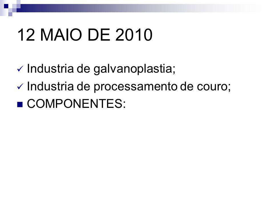12 MAIO DE 2010 Industria de galvanoplastia;
