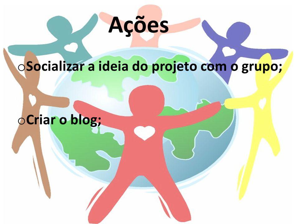 Socializar a ideia do projeto com o grupo; Criar o blog;