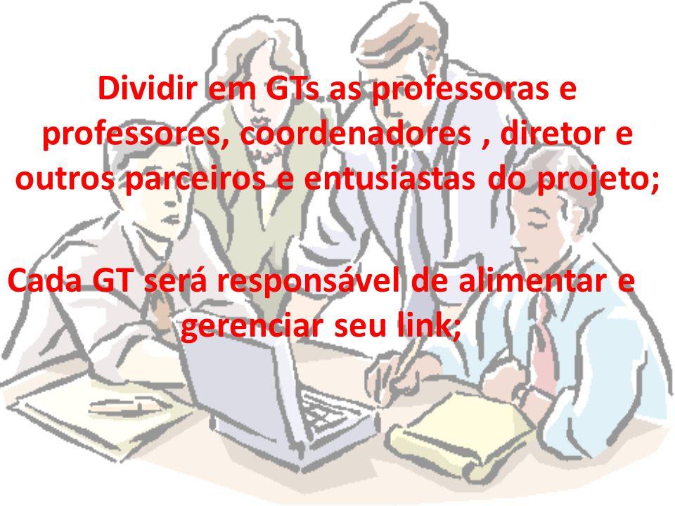 Cada GT será responsável de alimentar e gerenciar seu link;