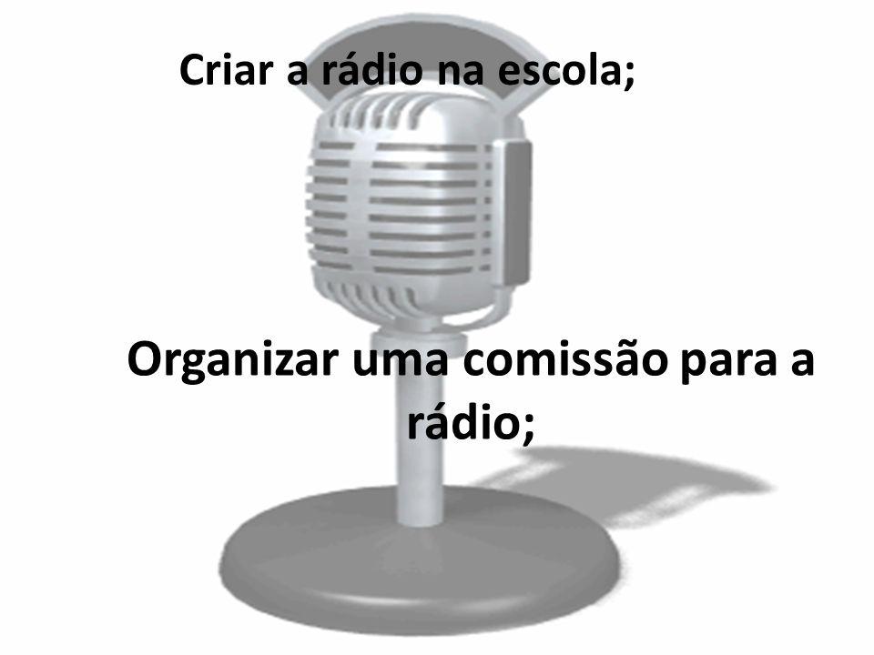 Criar a rádio na escola;