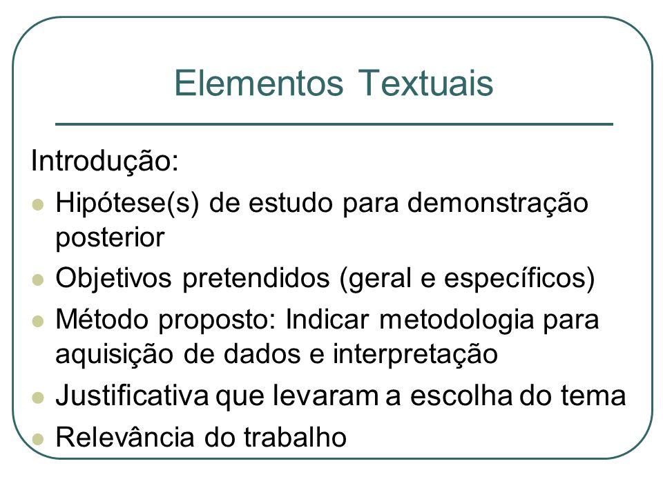 Elementos Textuais Introdução: