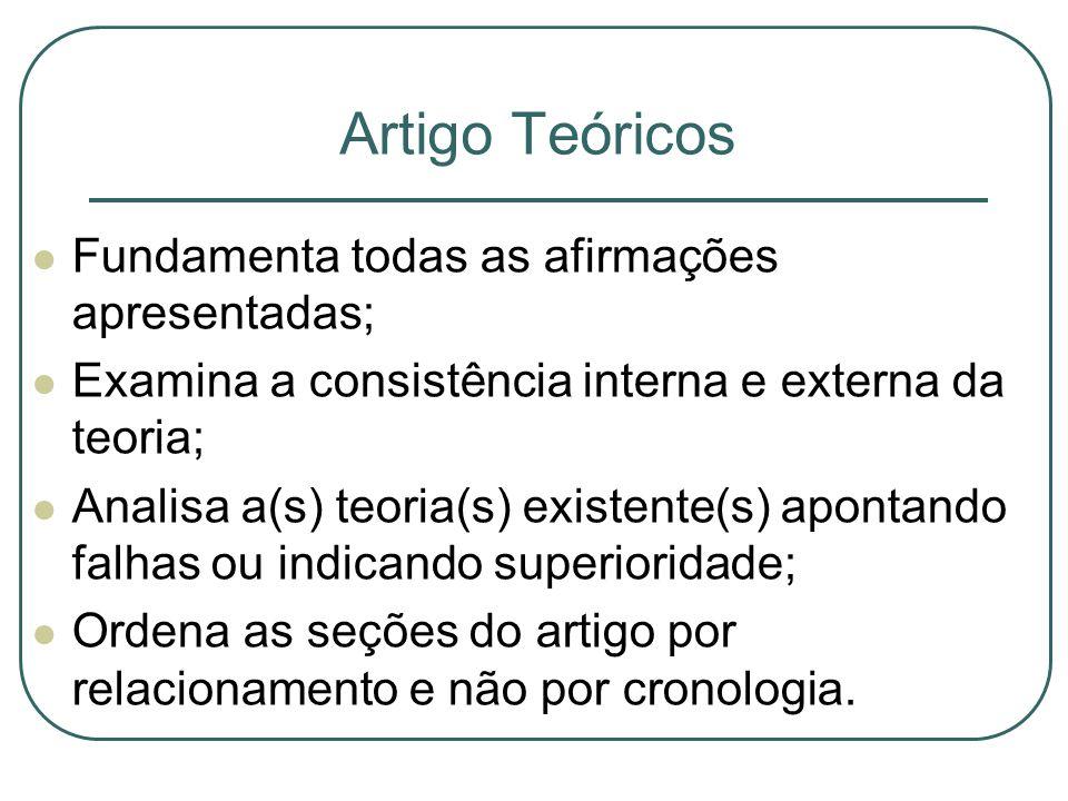 Artigo Teóricos Fundamenta todas as afirmações apresentadas; Examina a consistência interna e externa da teoria;