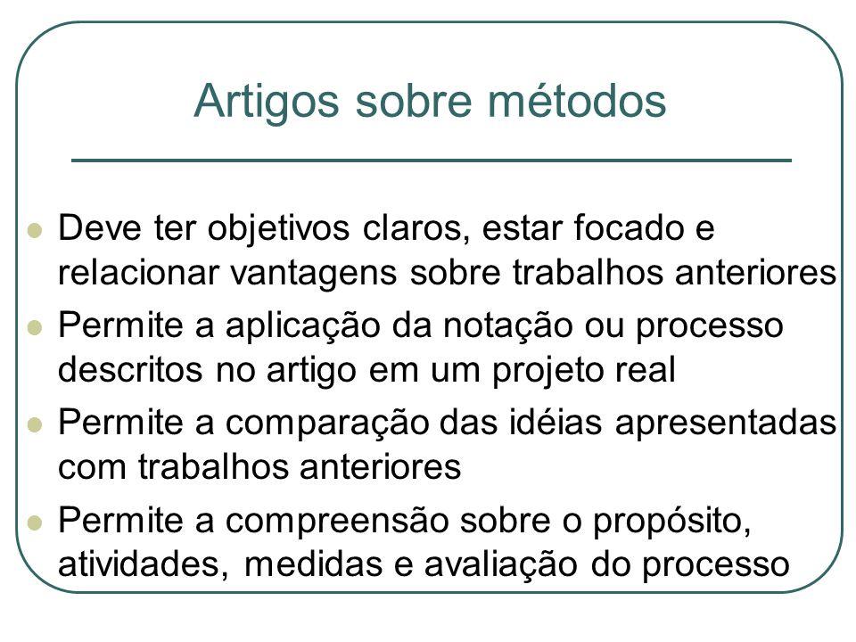 Artigos sobre métodos Deve ter objetivos claros, estar focado e relacionar vantagens sobre trabalhos anteriores.