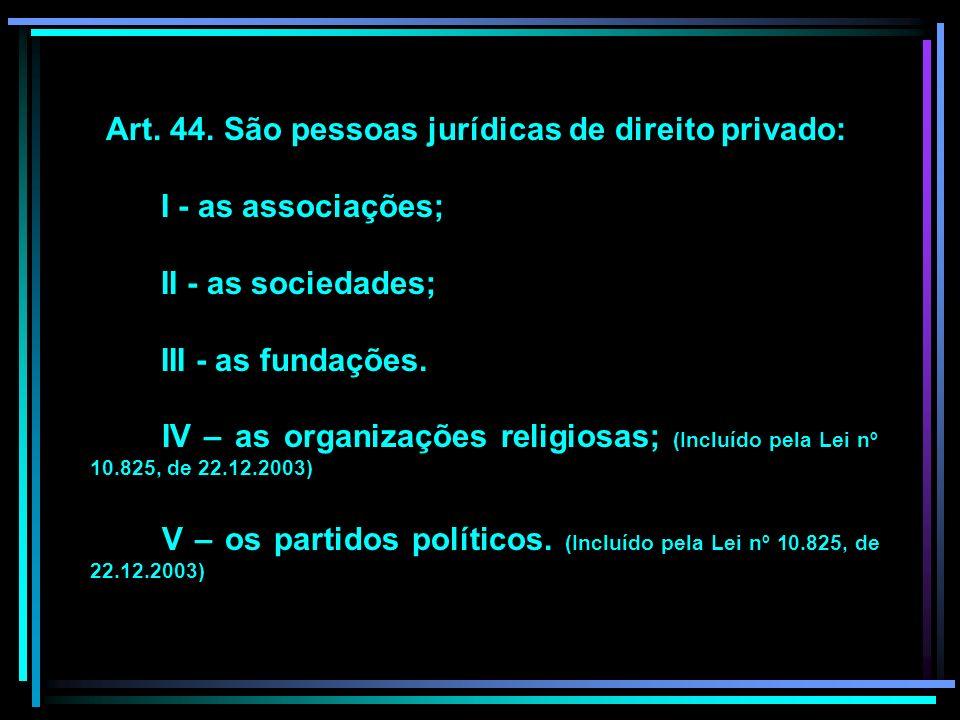 Art. 44. São pessoas jurídicas de direito privado: