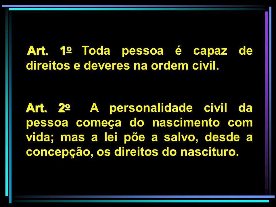 Art. 1o Toda pessoa é capaz de direitos e deveres na ordem civil.