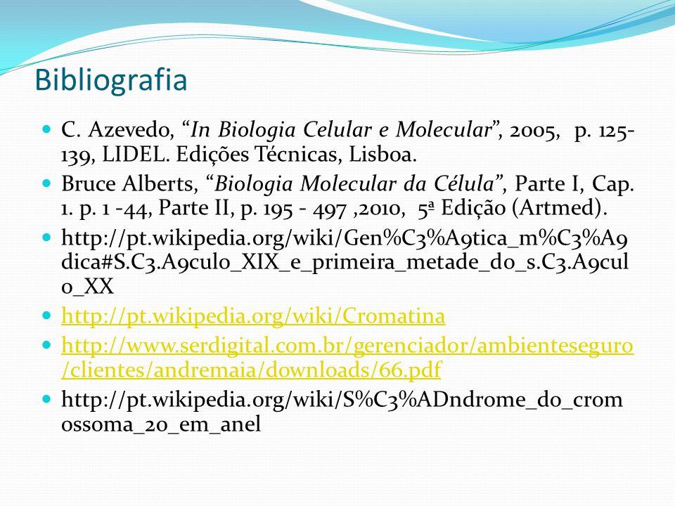 Bibliografia C. Azevedo, In Biologia Celular e Molecular , 2005, p. 125- 139, LIDEL. Edições Técnicas, Lisboa.
