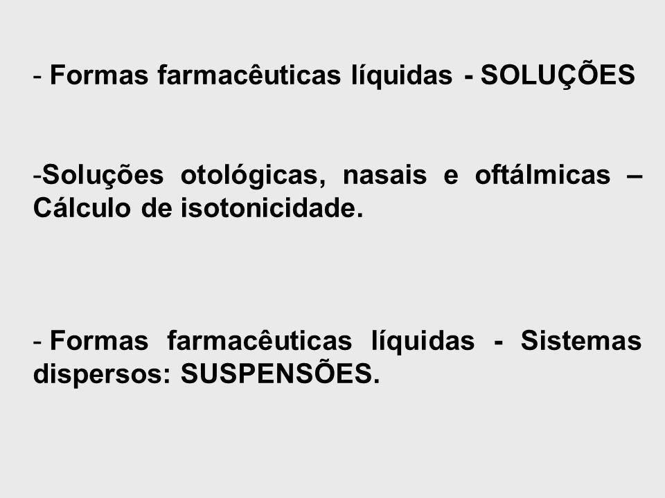 Formas farmacêuticas líquidas - SOLUÇÕES