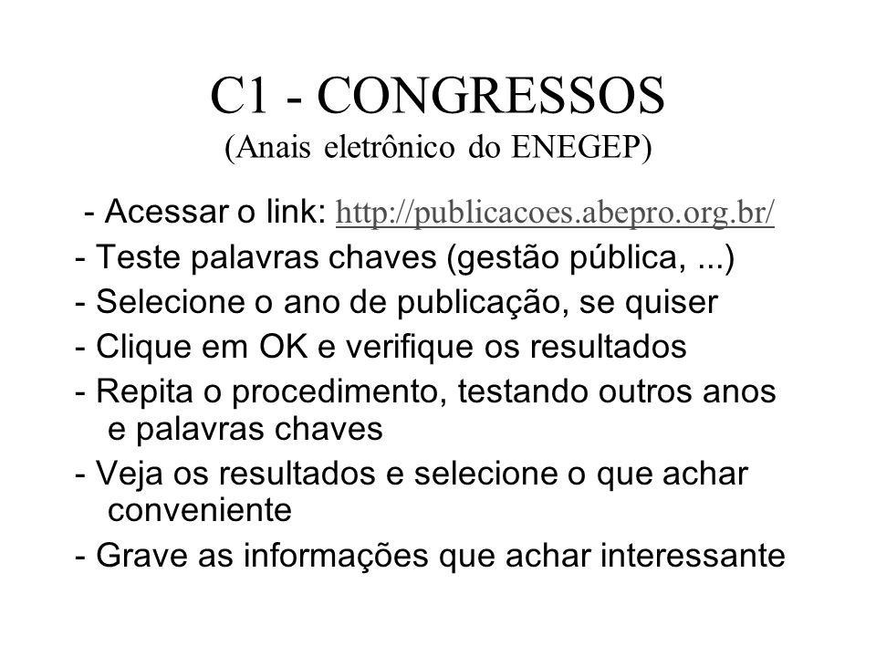 C1 - CONGRESSOS (Anais eletrônico do ENEGEP)
