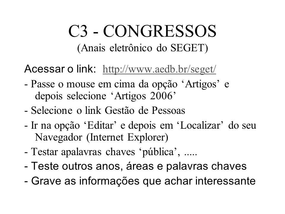 C3 - CONGRESSOS (Anais eletrônico do SEGET)