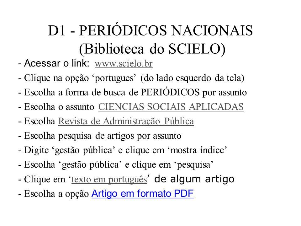D1 - PERIÓDICOS NACIONAIS (Biblioteca do SCIELO)