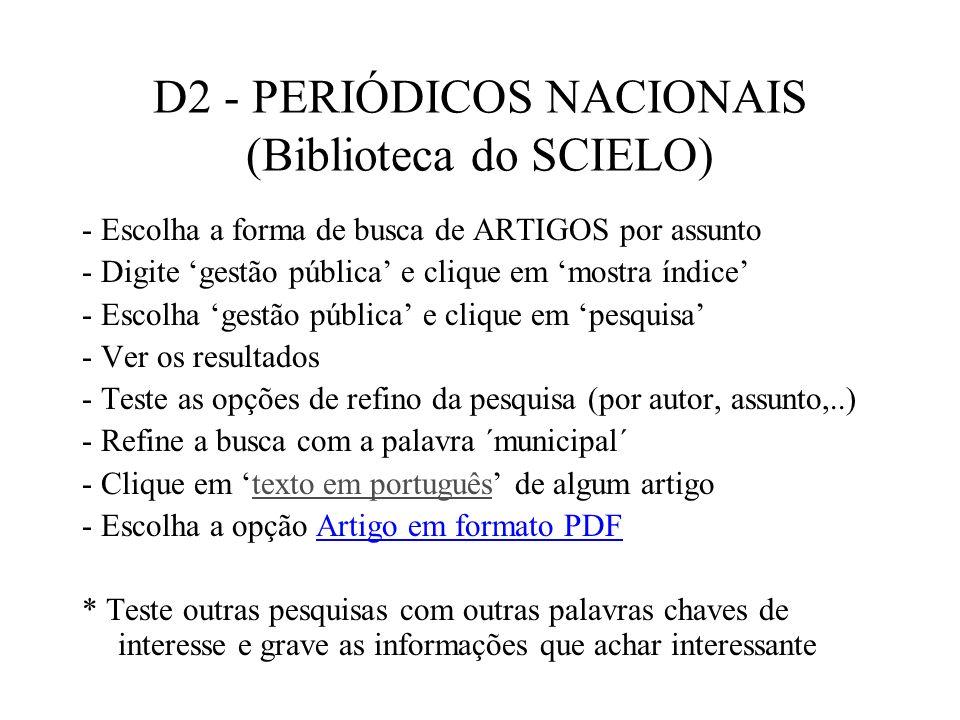 D2 - PERIÓDICOS NACIONAIS (Biblioteca do SCIELO)