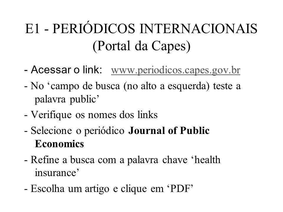 E1 - PERIÓDICOS INTERNACIONAIS (Portal da Capes)