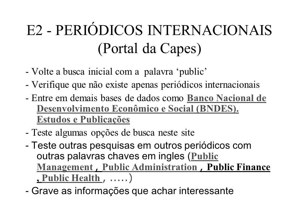 E2 - PERIÓDICOS INTERNACIONAIS (Portal da Capes)
