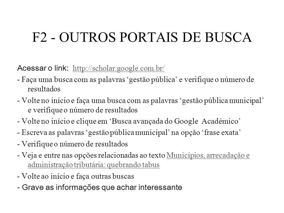 F2 - OUTROS PORTAIS DE BUSCA