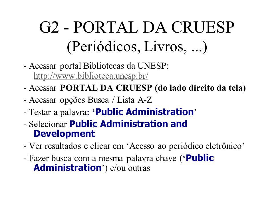 G2 - PORTAL DA CRUESP (Periódicos, Livros, ...)