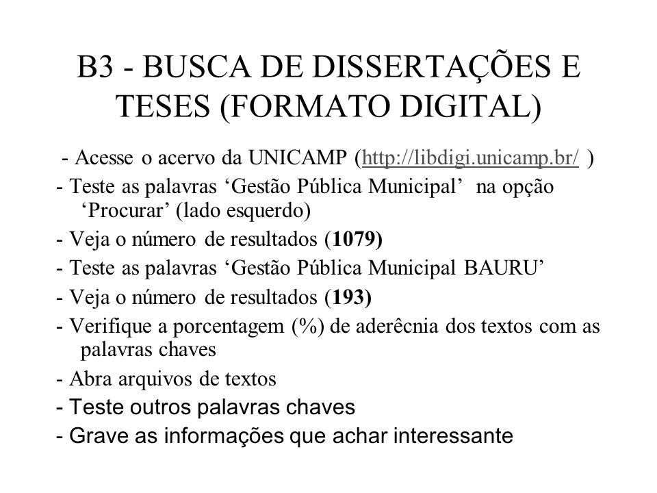 B3 - BUSCA DE DISSERTAÇÕES E TESES (FORMATO DIGITAL)