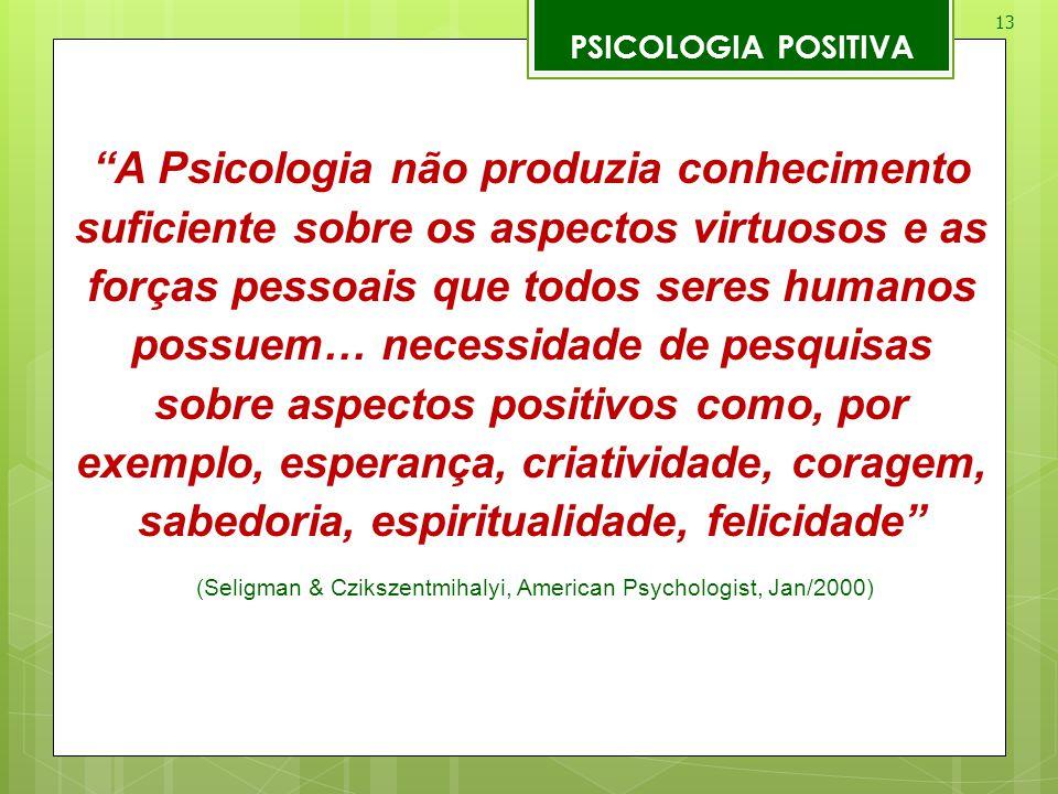 (Seligman & Czikszentmihalyi, American Psychologist, Jan/2000)