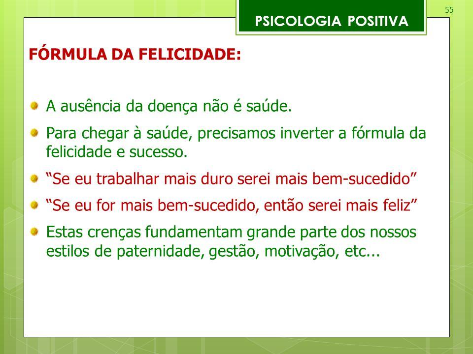 FÓRMULA DA FELICIDADE: A ausência da doença não é saúde.
