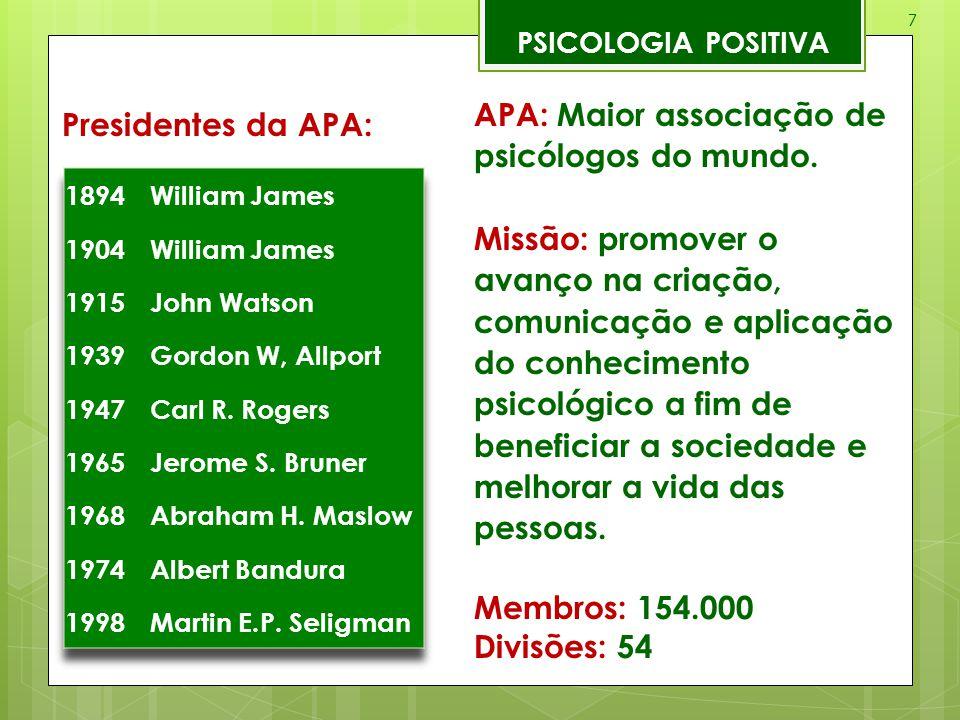 APA: Maior associação de psicólogos do mundo.