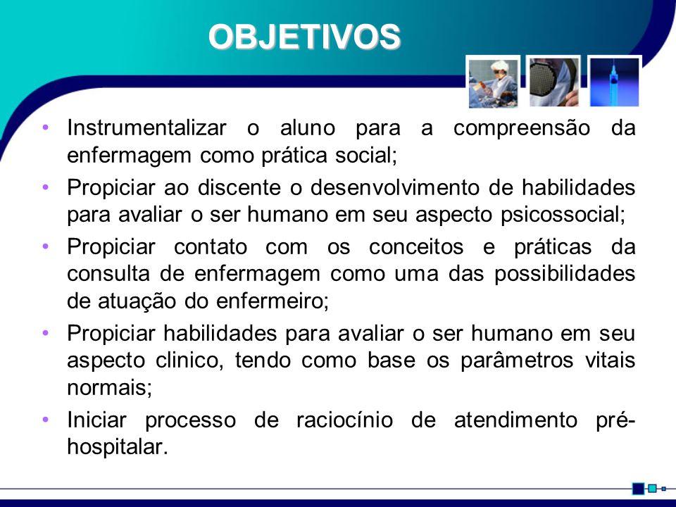 OBJETIVOS Instrumentalizar o aluno para a compreensão da enfermagem como prática social;