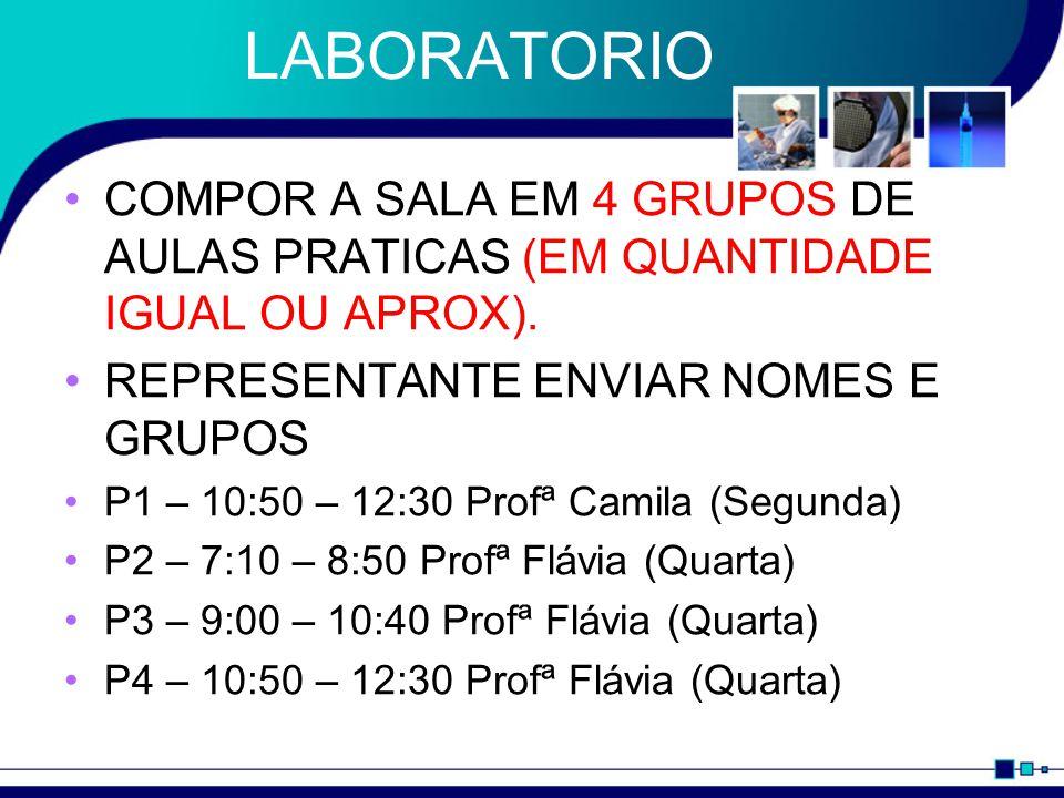 LABORATORIO COMPOR A SALA EM 4 GRUPOS DE AULAS PRATICAS (EM QUANTIDADE IGUAL OU APROX). REPRESENTANTE ENVIAR NOMES E GRUPOS.