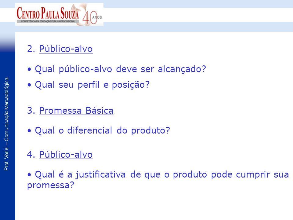 2. Público-alvo Qual público-alvo deve ser alcançado Qual seu perfil e posição 3. Promessa Básica.