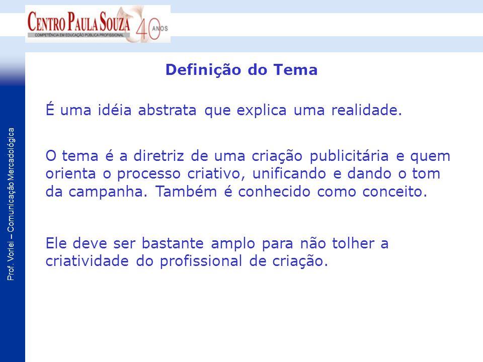 Definição do Tema É uma idéia abstrata que explica uma realidade.